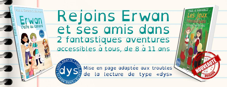 """Voir les livres """"Erwan l'elfe au canard"""" et """"Les Jeux Fantastiques"""""""